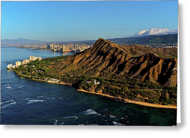 Elevated View Of Diamond Head Greeting Card
