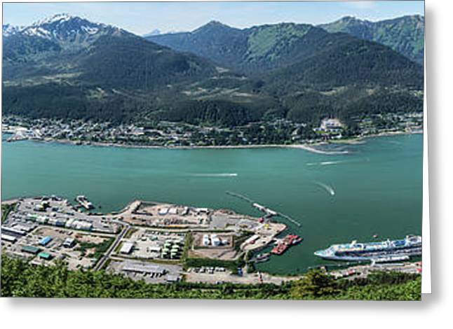 Elevated View Of Harbor With Mount Greeting Card by Panoramic Images