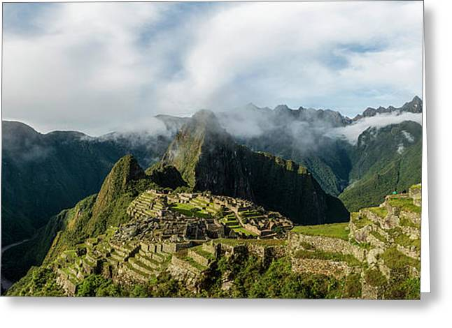 Elevated View Of Inca Ruins, Machu Greeting Card