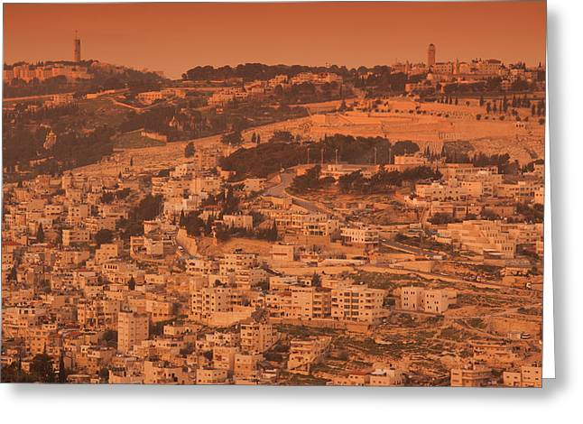 Elevated View Of Kidron Valley Arab Greeting Card