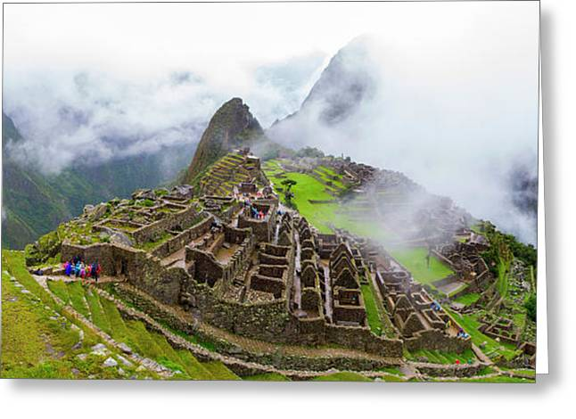 Elevated View Of Machu Picchu Greeting Card