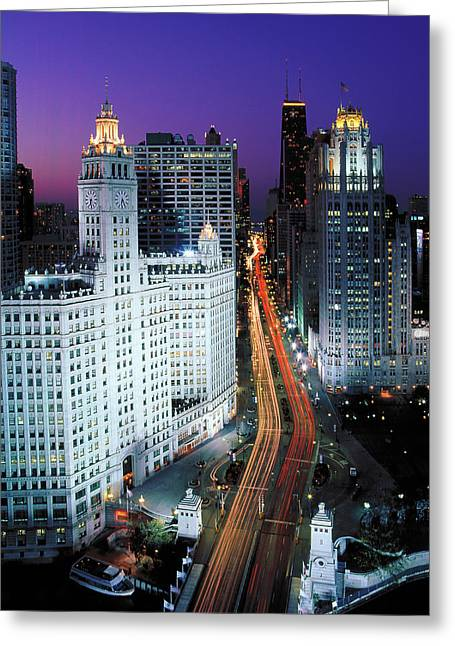 Elevated View Of Michigan Avenue Greeting Card