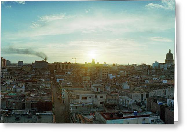 Elevated View Of Old Havana At Sunrise Greeting Card by Panoramic Images