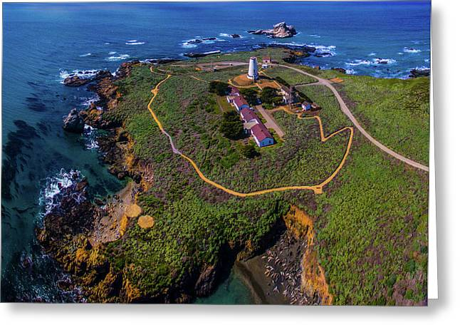 Elevated View Of Piedras Blancas Greeting Card