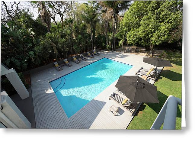 Elevated View Of Swimming Pool At Athol Greeting Card by Panoramic Images