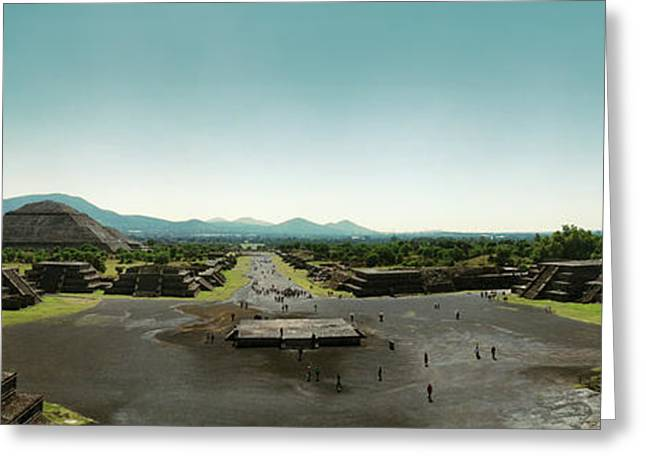 Elevated View Of Teotihuacan Pyramids Greeting Card