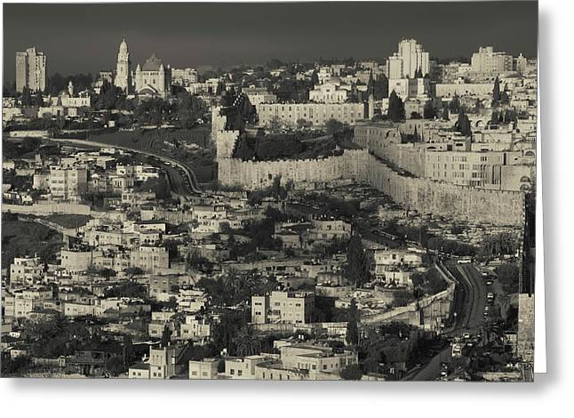 Elevated View Of The Old City At Dawn Greeting Card