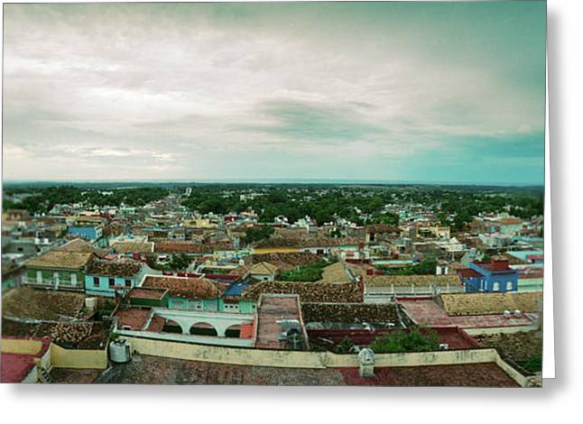 Elevated View Of Townscape Greeting Card