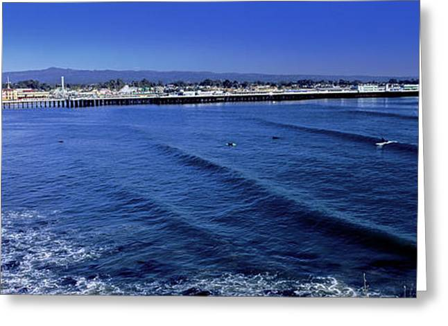 Elevated View Of Waves On Beach, Santa Greeting Card by Panoramic Images