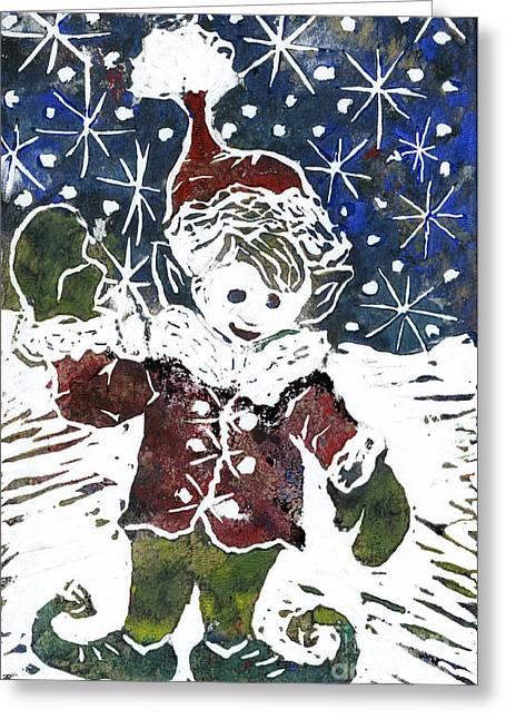 Elf   Block Print In Color Greeting Card by Ellen Miffitt