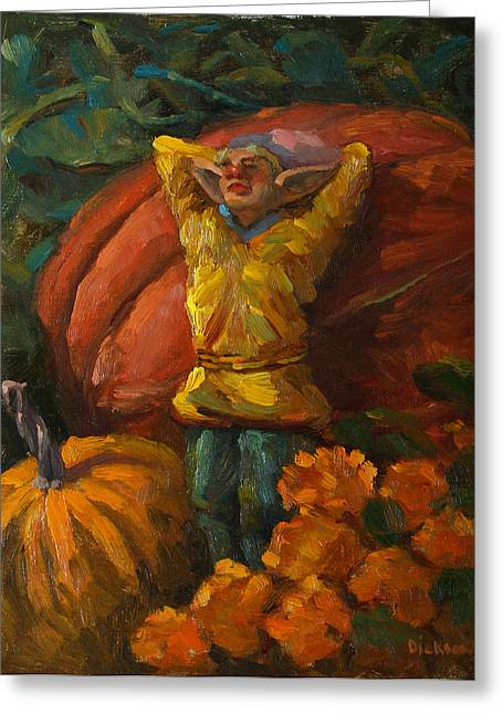 Elf In The Pumpkin Patch Greeting Card