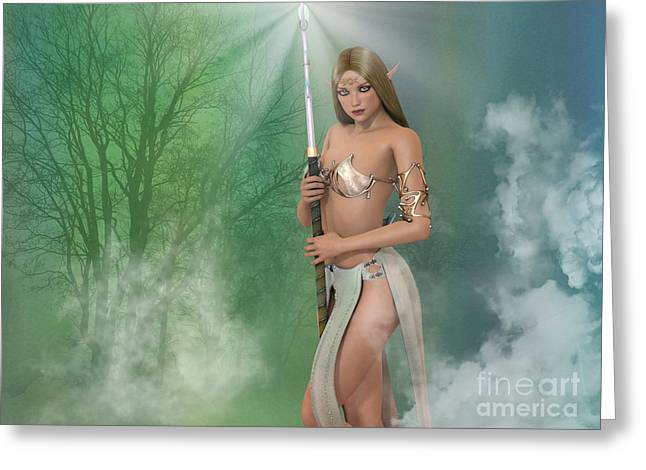 Elf Sorceress With Staff Greeting Card