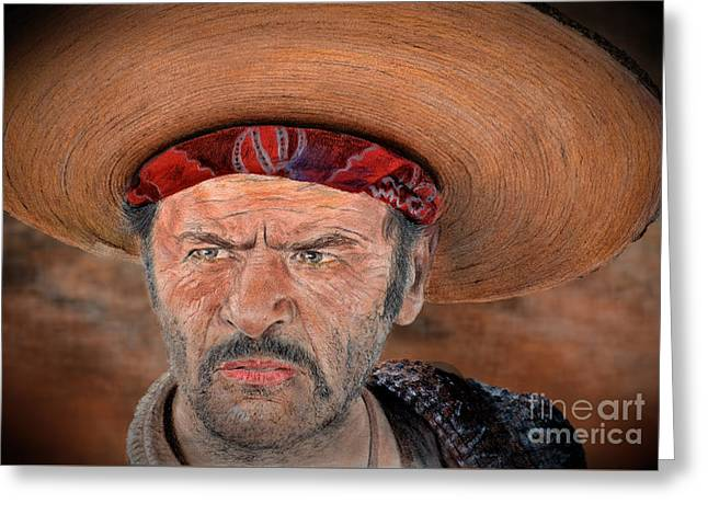 Eli Wallach As Tuco In The Good The Bad And The Ugly Version II Greeting Card by Jim Fitzpatrick