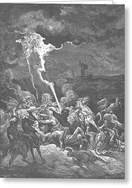 Elijah Destroys The Messengers Of Ahaziah Greeting Card by Gustave Dore