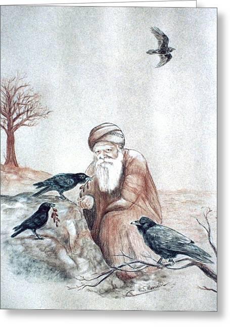 Elijah Fed By Ravens Greeting Card by Cati Simon