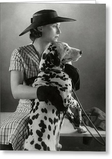 Elizabeth Blair With A Dalmatian Greeting Card by Edward Steichen