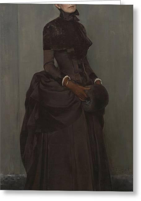 Elizabeth Boott Duveneck Oil On Canvas Greeting Card by Frank Duveneck