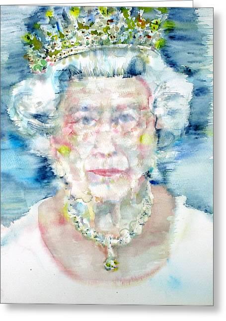 Elizabeth II - Watercolor Portrait Greeting Card