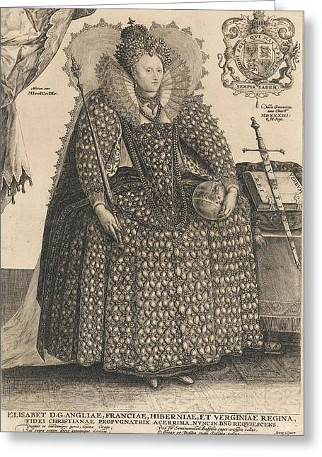 Elizabeth, Queen Of England, C.1603 Greeting Card by Crispin I de Passe