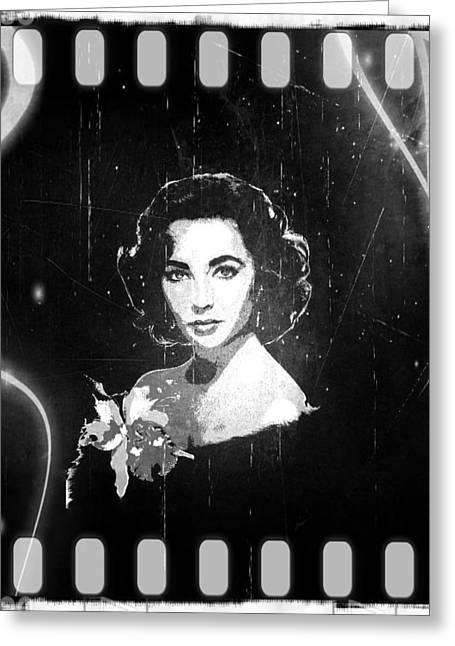 Elizabeth Taylor - Black And White Film Greeting Card