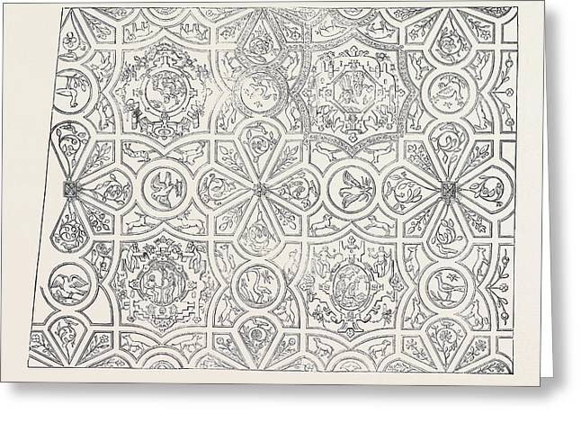 Elizabethan Ceiling At The Red Lion Inn Greeting Card