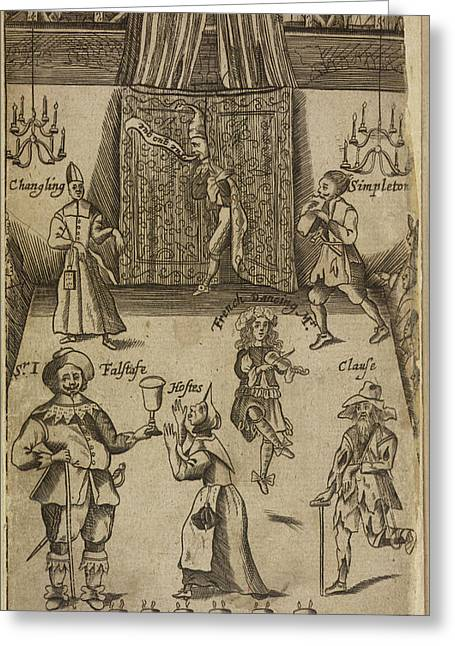 Elizabethan Figures On A Stage Greeting Card by British Library