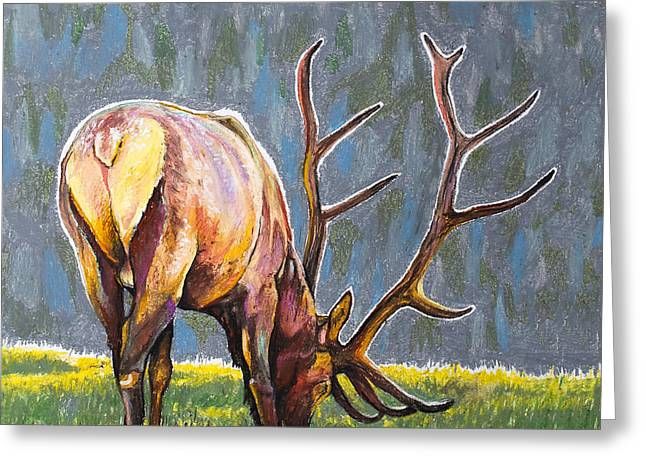 Greeting Card featuring the painting Elk by Aaron Spong