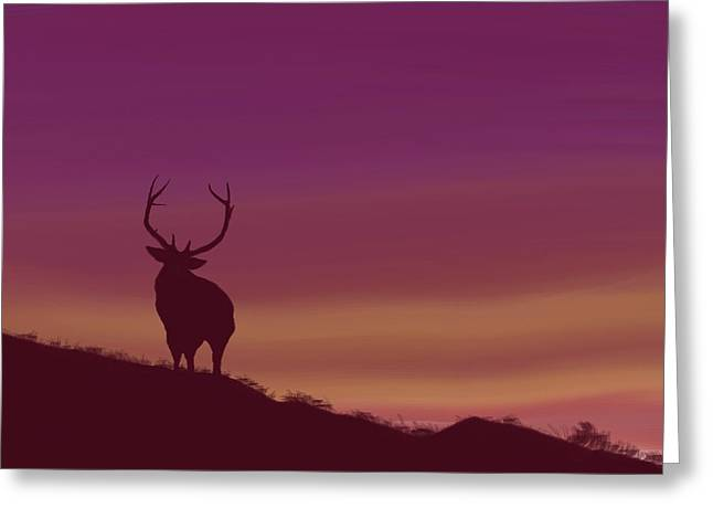 Greeting Card featuring the digital art Elk At Dusk by Terry Frederick