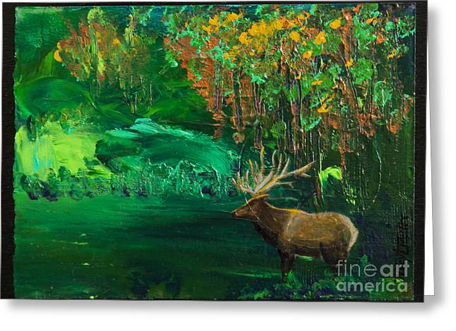Elk Fall Greeting Card by Tracy L Teeter