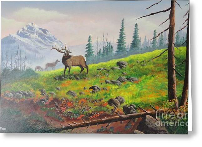 Elk In The Mist Greeting Card