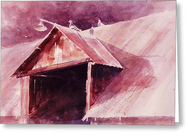 Greeting Card featuring the painting Elkhorn Valley Barn by John  Svenson