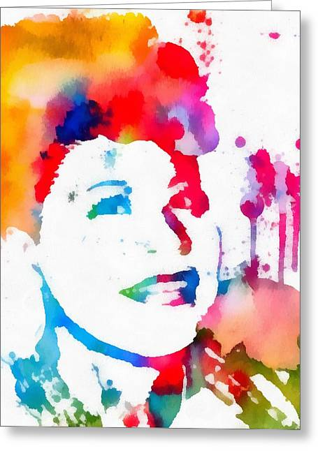 Ella Fitzgerald Paint Splatter Greeting Card by Dan Sproul