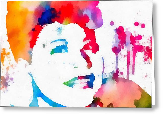 Ella Fitzgerald Paint Splatter Greeting Card by Dan Sproul