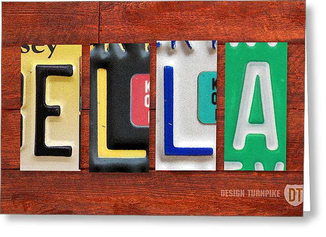 Ella License Plate Name Sign Fun Kid Room Decor. Greeting Card