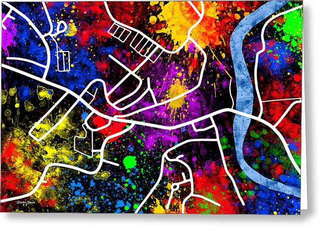 Ellicott City Map Greeting Card by Stephen Younts