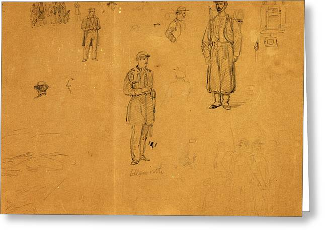 Ellsworth Zouaves, Drawing, 1862-1865, By Alfred R Waud Greeting Card by Quint Lox