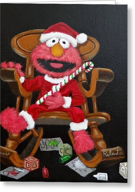 Greeting Card featuring the painting Elmo  by Susan Roberts