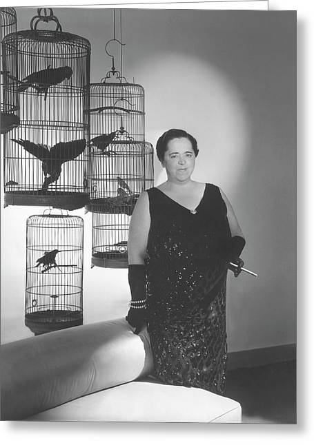 Elsa Maxwell Posing In Front Of Bird Cages Greeting Card by Horst P. Horst