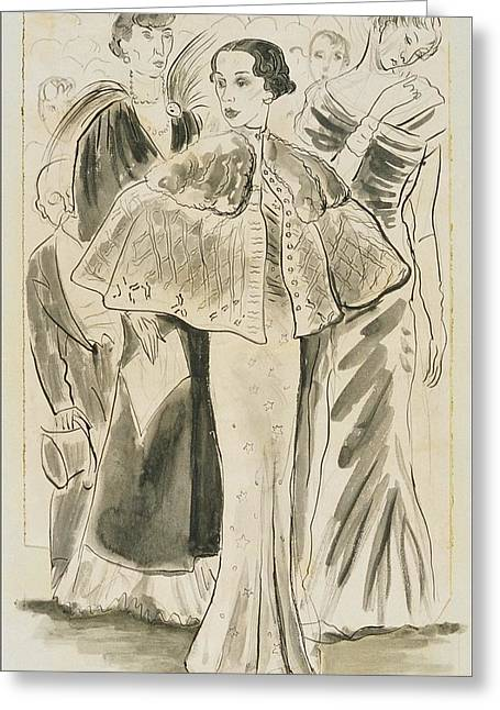 Elsa Schiaparelli Wearing A Cape Greeting Card by Cecil Beaton