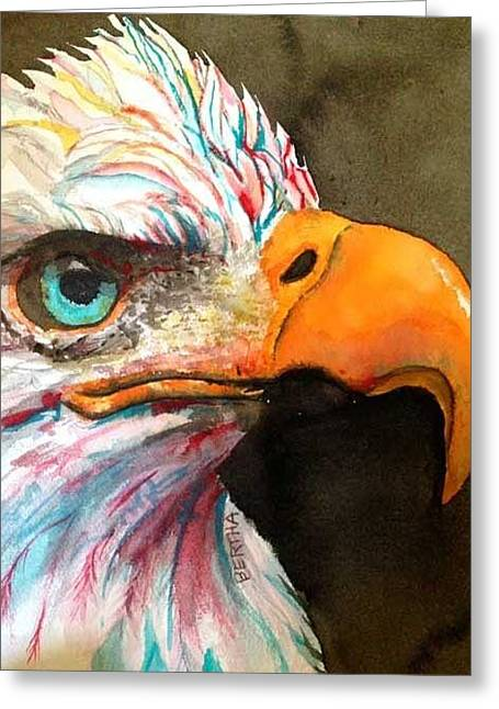 Greeting Card featuring the painting Elton Eagle Means Business by Karen bertha Calderon