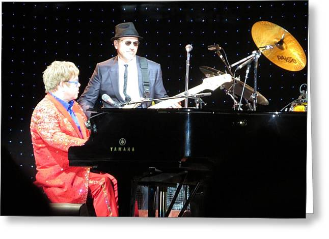 Elton Plays The Blues In Macon Ga Greeting Card by Aaron Martens