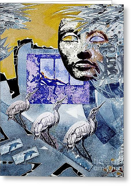 Greeting Card featuring the mixed media Elusive Gray Dream by Hartmut Jager
