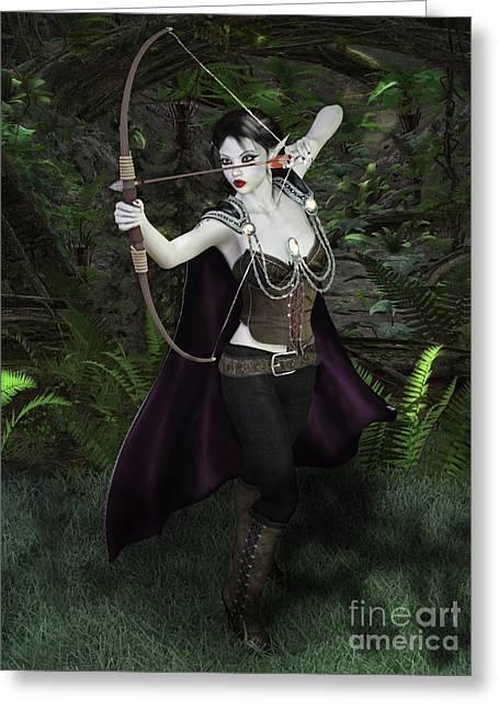 Elven Archer Female Greeting Card