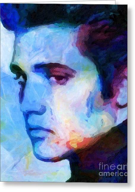 Elvis Blue Greeting Card by Lutz Baar