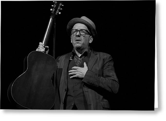 Elvis Costello Greeting Card by Jeff Ross