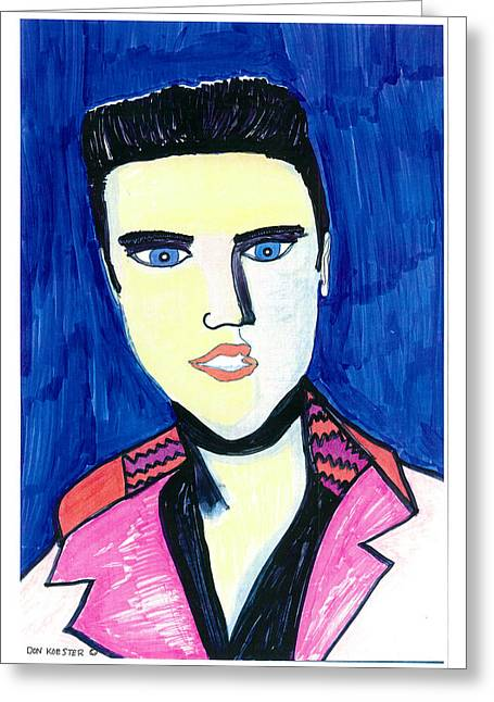 Greeting Card featuring the painting Elvis by Don Koester