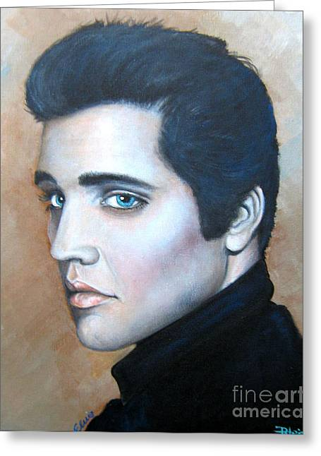 Greeting Card featuring the painting Elvis by Patrice Torrillo