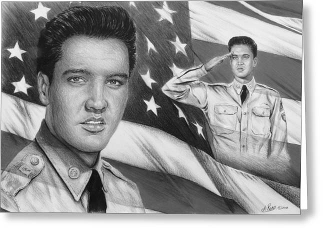 Elvis Patriot Bw Signed Greeting Card