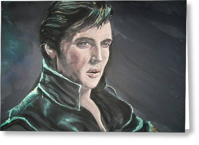 Greeting Card featuring the mixed media Elvis by Peter Suhocke