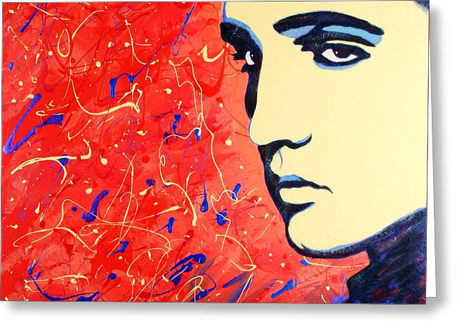 Elvis Presley - Red Blue Drip Greeting Card